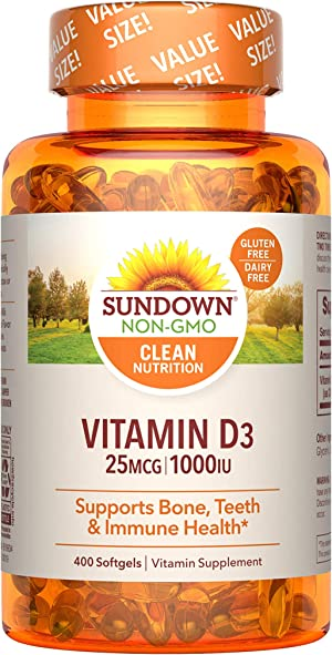 Sundown Vitamin D3 for Immune Support, Non-GMO, Dairy-Free, Gluten-Free, No Artificial Flavors, 25mcg 1000IU Softgels, 400 Count