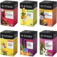 Stash Tea Fruity Herbal Tea 6 Flavor Tea Sampler, 6 boxes With 18-20 Tea Bags Each