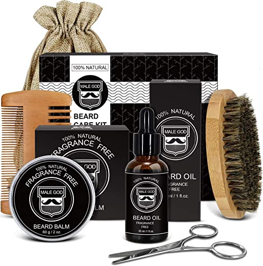 Beard Kit, Beard Grooming Kit for Men Gifts, Natural Organic Beard Oil, Beard Balm, Beard Comb, Beard Brush, Beard Scissors, Gift Box and E-Book, Beard Care Beard Gifts For Him Dad Husband Boyfriend