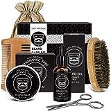 Beard Kit, Beard Growth Kit for Men Gifts, Natural Organic Beard Oil, Beard Balm, Beard Comb, Beard Brush, Beard Scissors, Gi