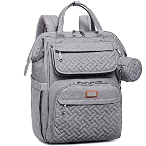Diaper Bag Backpack, BabbleRoo Multifunction Large Baby Bags with Changing Pad & Stroller Straps & Pacifier Case, Unisex Stylish Travel Back Pack Nappy Changing Bag for Moms Dads, Gray