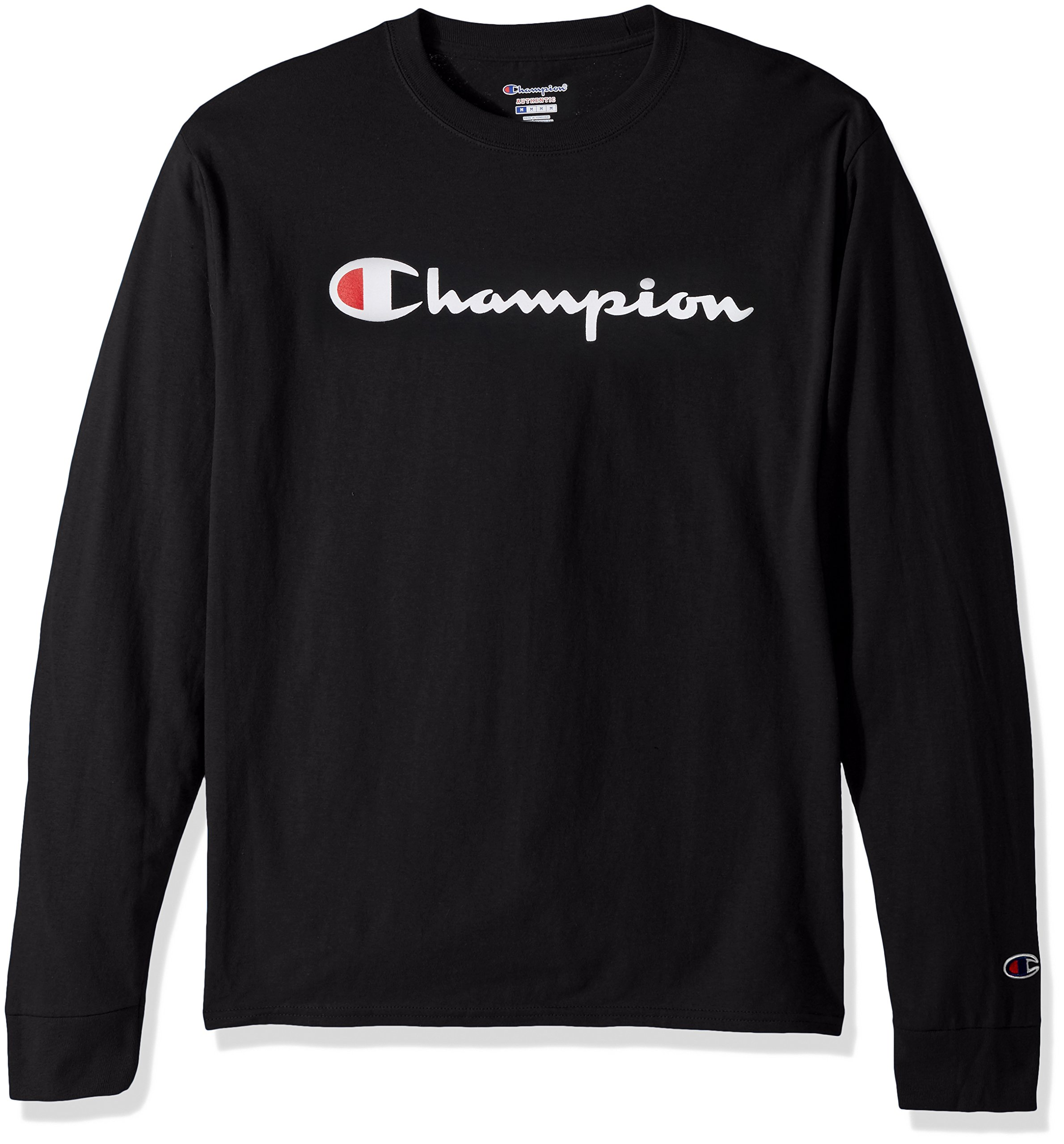 2376cd53 Galleon - Champion LIFE Men's Cotton Long Sleeve Tee, Black/Patriotic  Script, Small