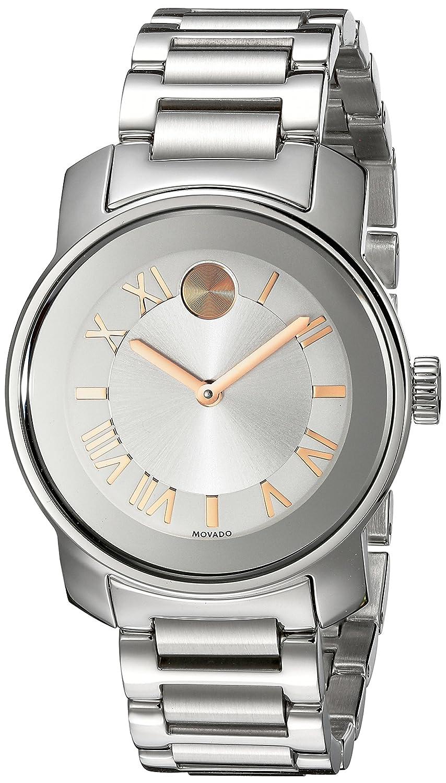 Movado Damen 32mm Silber Ëdelstahl Armband & GehÄuse Mineral Glas Uhr 3600244