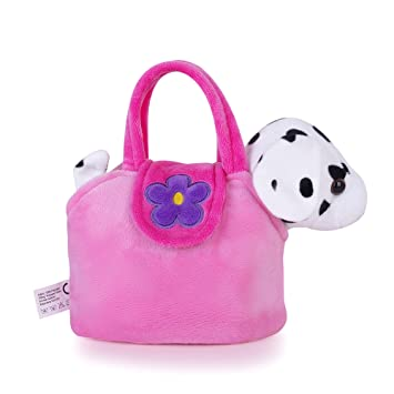 7070a30735 Amazon.com : Lazada Girls' Plush Puppy Purse with Carrying Bag Toy ...