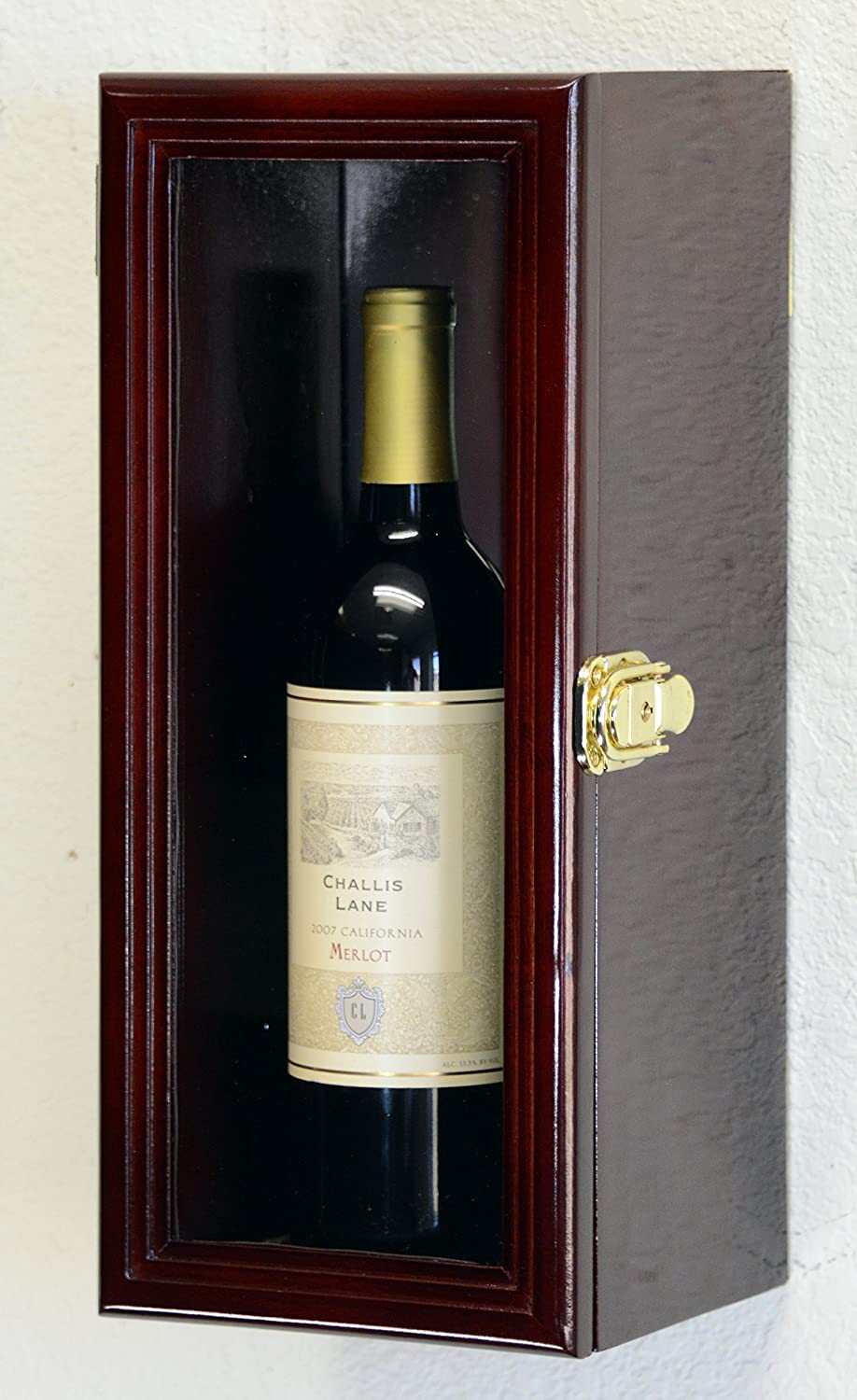 Amazon.com: Single Wine Bottle Wall Display Case Cabinet Holder ...