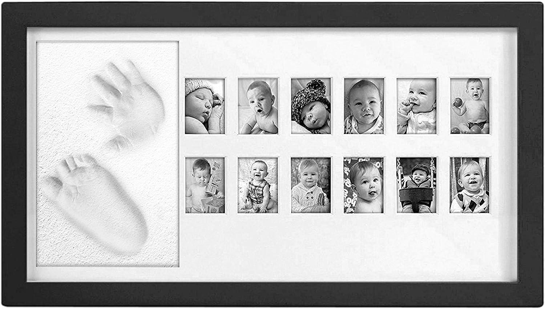 Chuckle - Mi primer año - Marco de fotos para recuerdos e imágenes de bebé y niño - Imagen con arcilla para el pie y la huella de la mano. - Fotografías - Perfecto regalo de Navidad