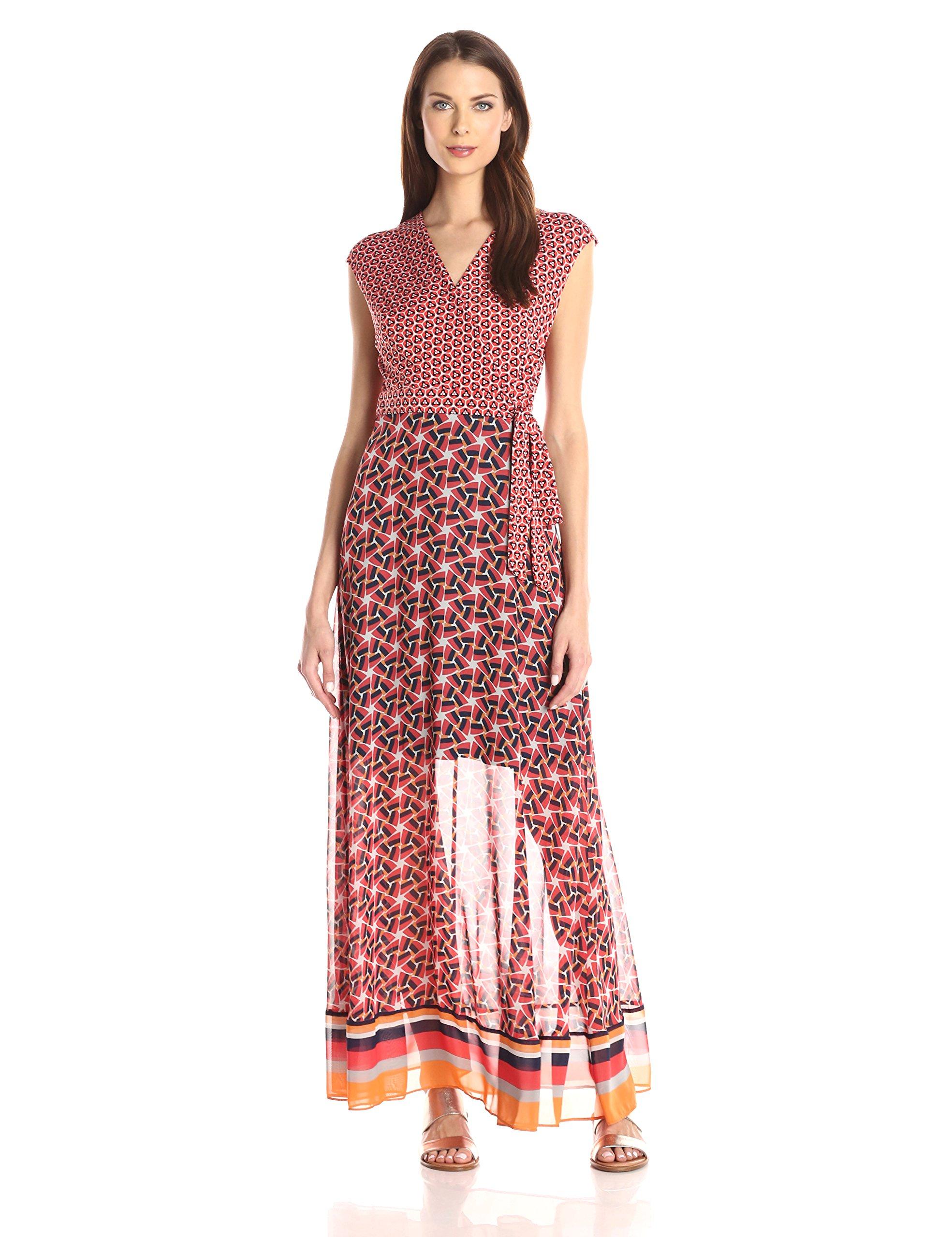 Taylor Dresses Women's V Neck Wrap Long Jersey Maxi Wth Chiffon Skirt, Poppy/Tang, 10
