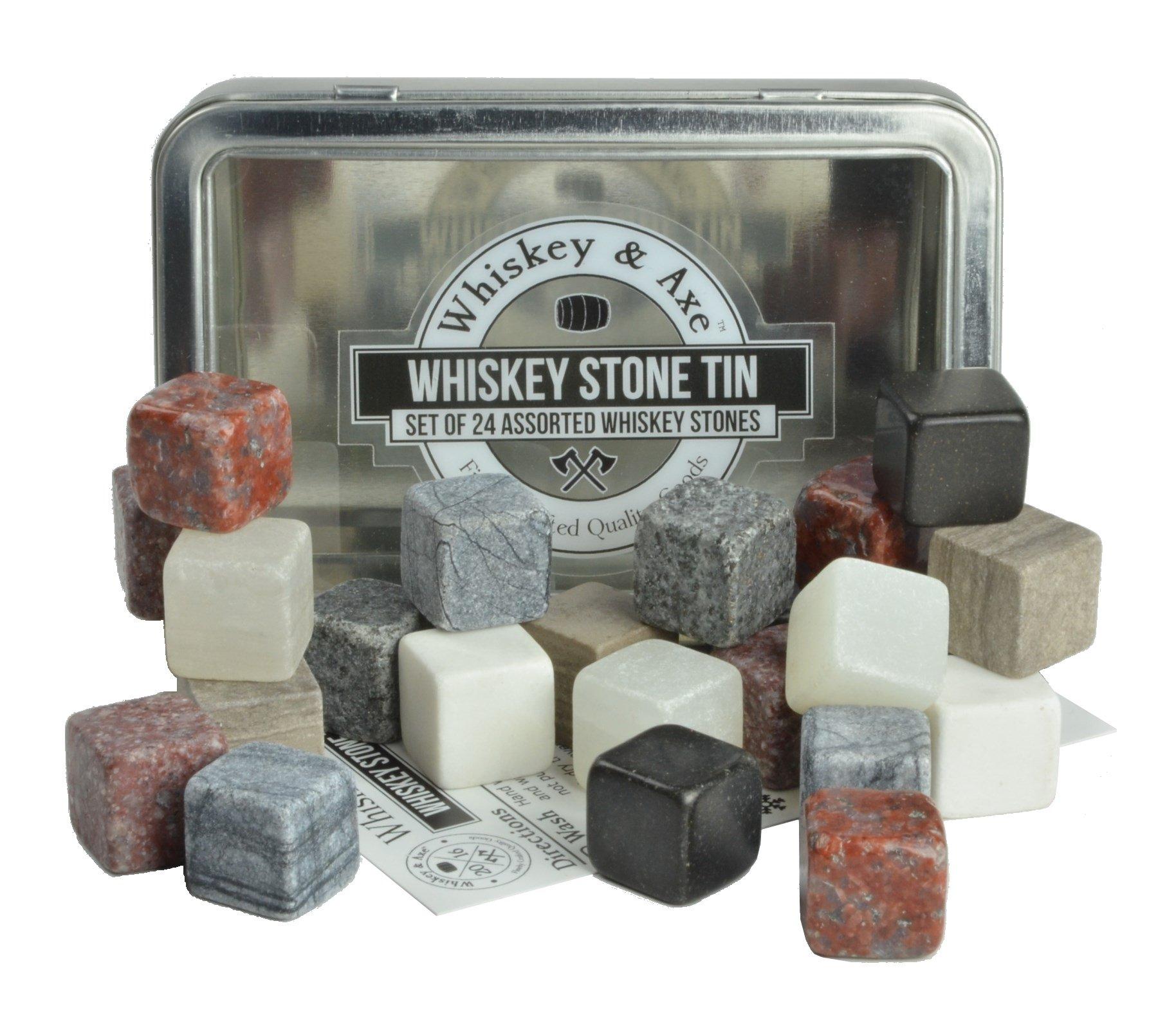Whiskey & Axe - Premium Set of 24 Whiskey Stones with Fantastic Storage Tin