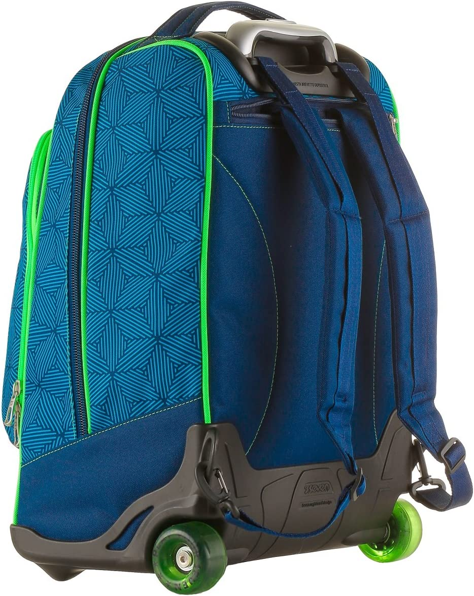WHEELED maxi round SEVEN Total disappearing shoulder-straps Bag Backpack REBEL BOY Blu Seven S.P.A