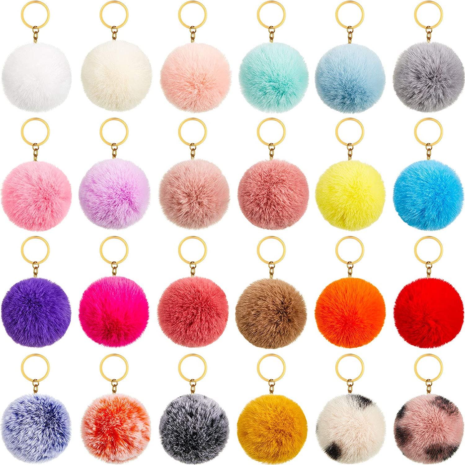 24 Pieces Colorful Pom Poms Keychains Fluffy Ball Pompoms Key Chain Faux Fur Pompoms Keyring Fluffy Accessories for Girls Women Hats Shoes Bags Supplies