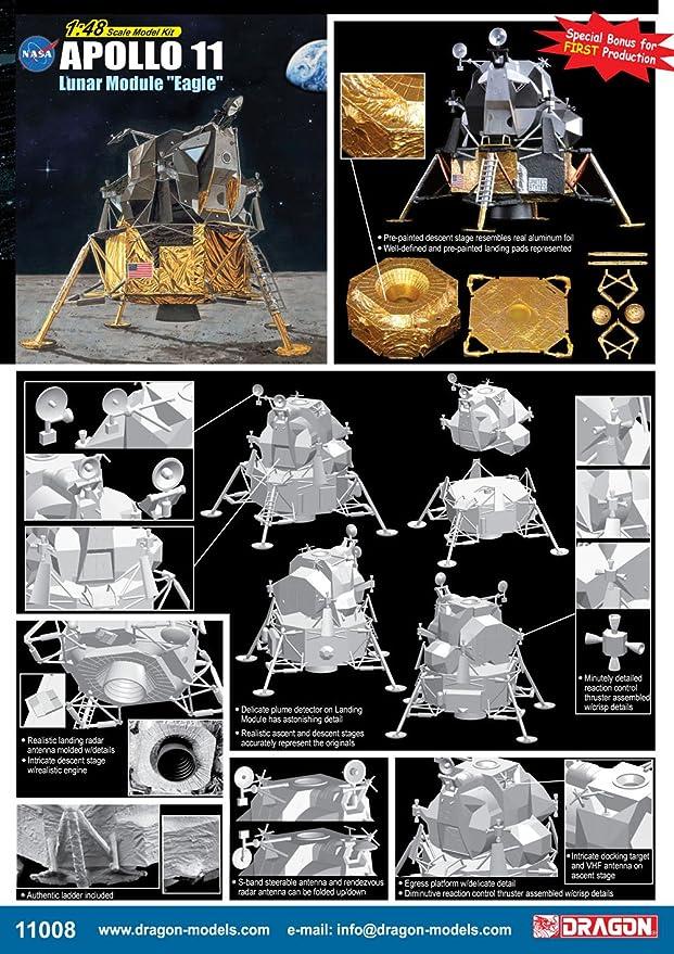 Apollo 11 Lunar Approach CSM Columbia LM Eagle 1:48 Model Kit Dragon 11009