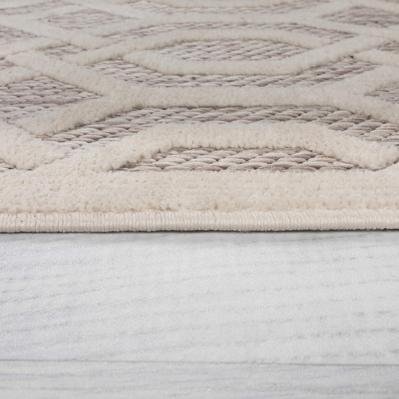 Runner Piatto Mondo Natural Geometric Flatweave Outdoor and Indoor Rug Home Garden Carpet 68x300 cm 22x10 Runner