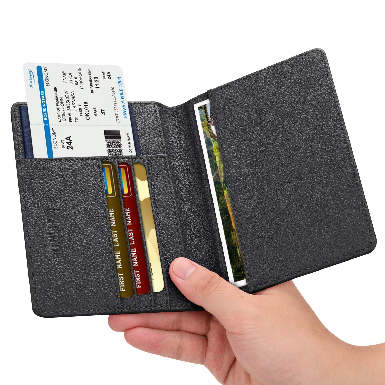 Fintie Passport Holder Travel Wallet RFID Blocking PU Leather Card Case Cover, Black by Fintie (Image #6)