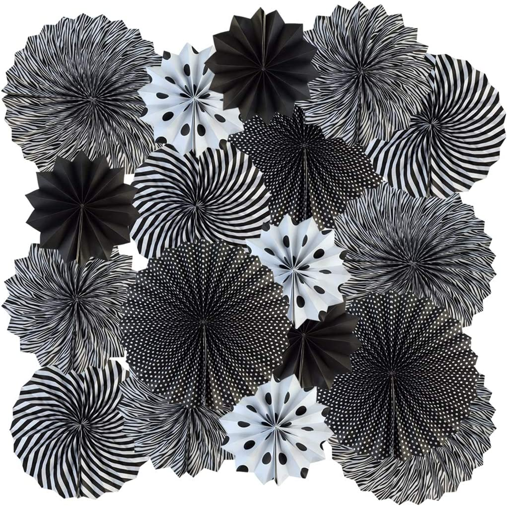 18pcs Party Hanging Paper Fans Set Black White Round Paper Fans Decorative Pattern Folding Fans Halloween Hanging Paper Fan Garlands for Halloween Birthday Wedding Graduation Events Accessories