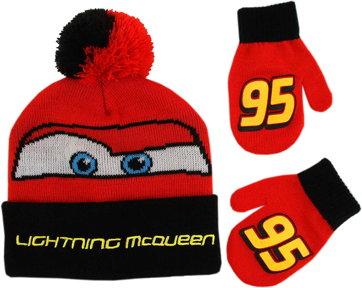 Disney Boys Winter Hat Set Cars Lightning McQueen Toddler Beanie and Mittens for Kids Age 2-4