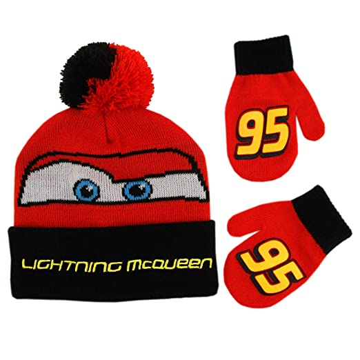 e87ce57e274 Amazon.com  Disney Boys  Toddler Cars Lightning McQueen Beanie Hat and Mittens  Winter Set