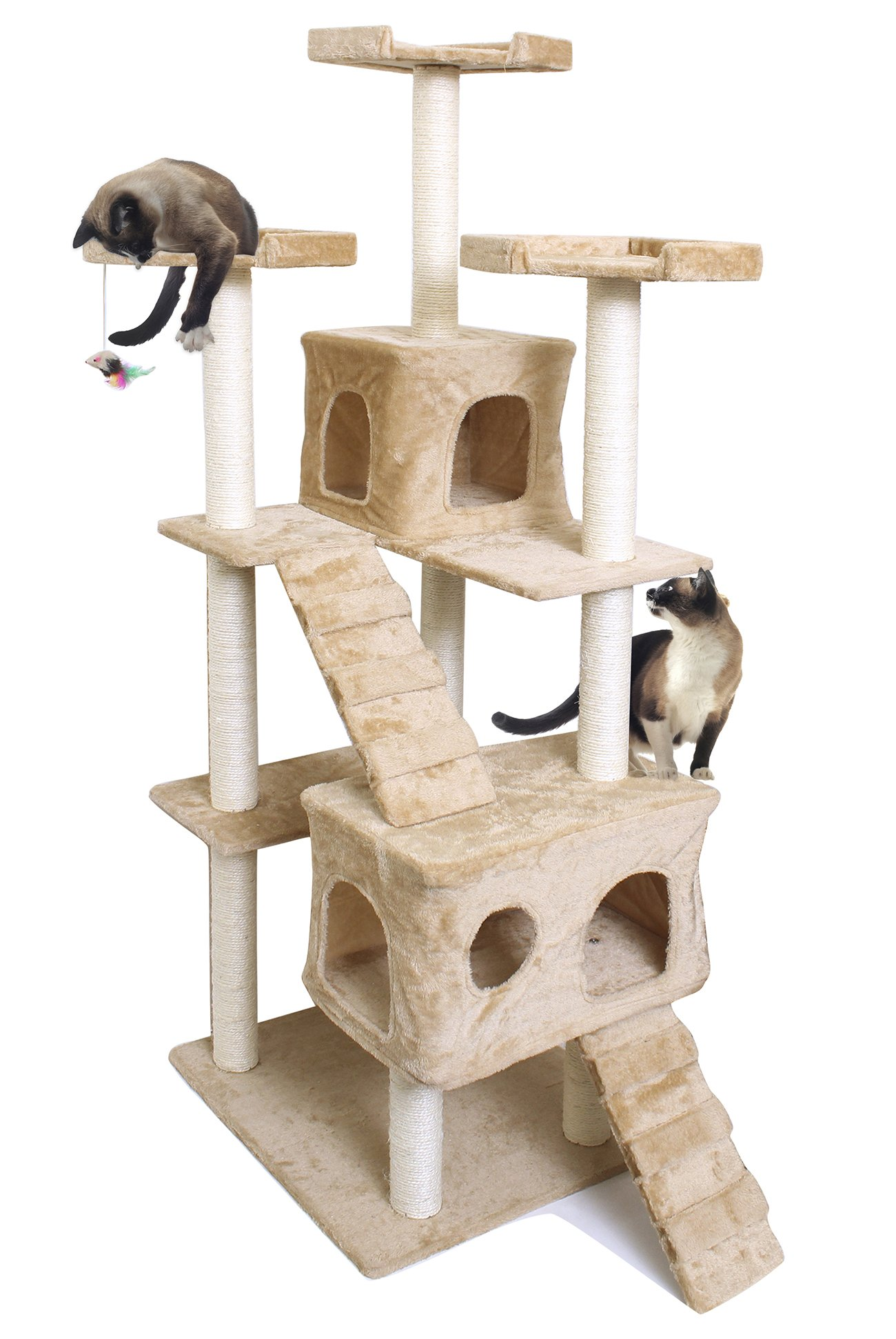 OxGord Cat Tree Condo Deluxe Play House Club Multi-level Scratching Post Pet Bed Toy Furniture