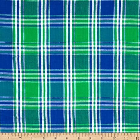 Amazon.com: Seersucker Large Plaid Blue/Green/White Fabric By The Yard