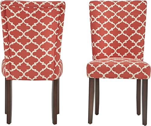 ModHaus Modern Red Fabric Moroccan Quatrefoil Pattern Parsons Style Dining Chair