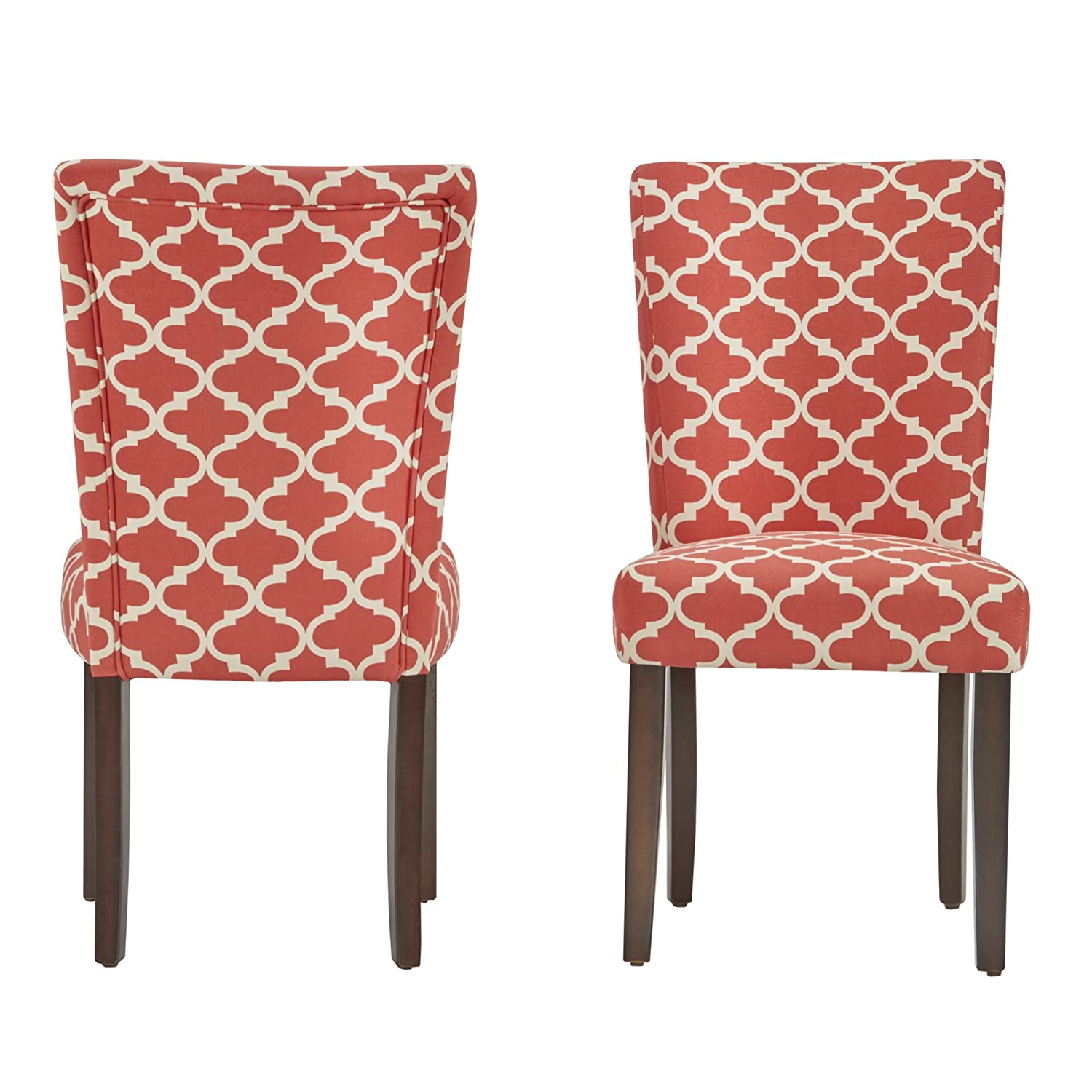 ModHaus Modern Red Fabric Moroccan Quatrefoil Pattern Parsons Style Dining Chairs Wood Finish Wooden Legs – Set of 2 Includes ModHaus Living TM Pen
