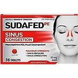 Sudafed PE Sinus Congestion Maximum Strength Non-Drowsy Decongestant Tablets, 36 ct