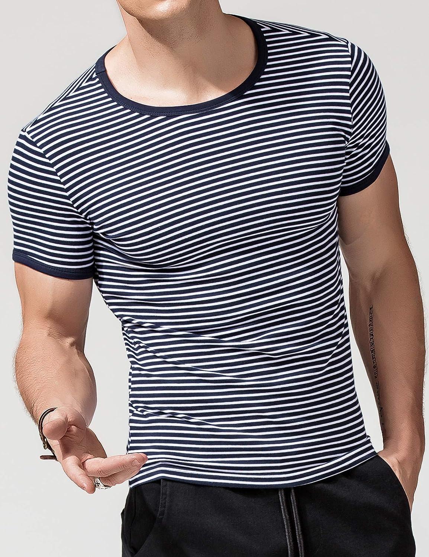 XDIAN Maglietta Strisce T-Shirt Striped Manica Corta Maglietta con Motivo a Righe Adulti e Bambini Camicie Cotone Casuale Slim Fit Bianco Grigio Blu Ragazzi Uomo Top/&Tees