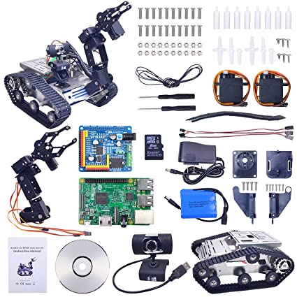XiaoR Geek WiFi Manipulator Smart Robot car kit for Raspberry Pi 3B+,Tank  Chassis FPV Camera Programable Robotics Vehicle Kit with 8Gb TF Card by iOS