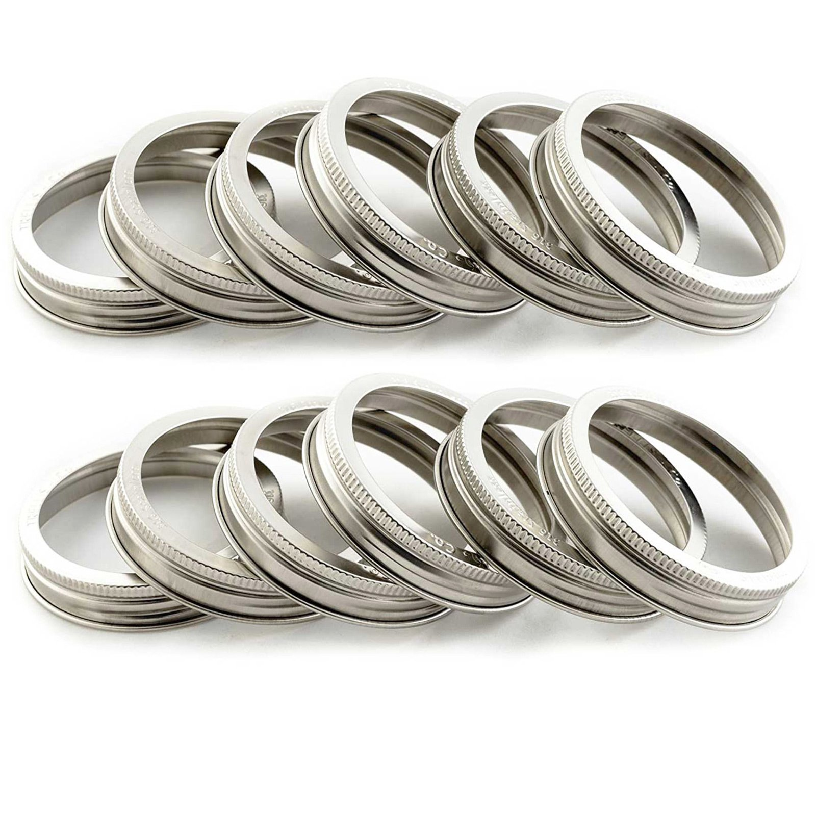 T&Co. STAMPED Stainless Steel Wide Mouth Mason Jar Replacement Rings/Bands/Tops - Durable & Rustproof - Set of 12 - For Pickling, Canning, Storage