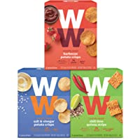 WW Savoury Crunchy Snack Variety Pack - Barbecue, Chili Lime, and Salt & Vinegar - 2 SmartPoints, 5 of Each Flavour (15 Count Total) - Weight Watchers Reimagined