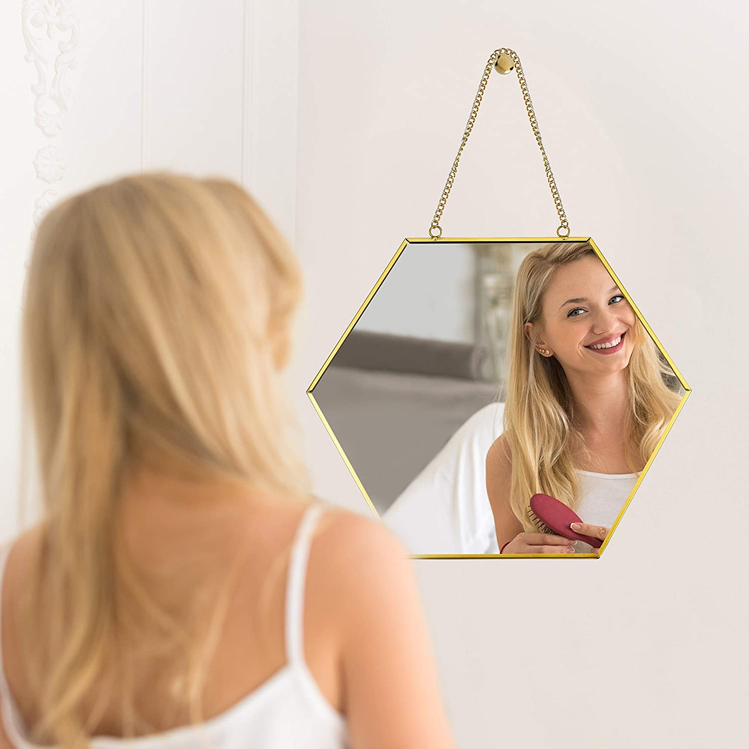 PARNOO 9.5-Inch Hexagonal Wall Mounted Mirror with Chain & Rose Gold Frame | Decorative Hanging Mirror for Bedroom, Living Room