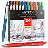 Arteza Colored Gel Pens, Pack of 24, 10 Vintage and 14 Vibrant Colors, Fine 0.7 mm Tip, Retractable, Art Supplies for Journal