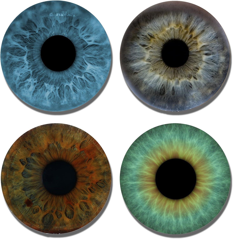 Drink Coasters - Assorted Eyeball Colors - 4 Piece Set Neoprene - Fabric Top