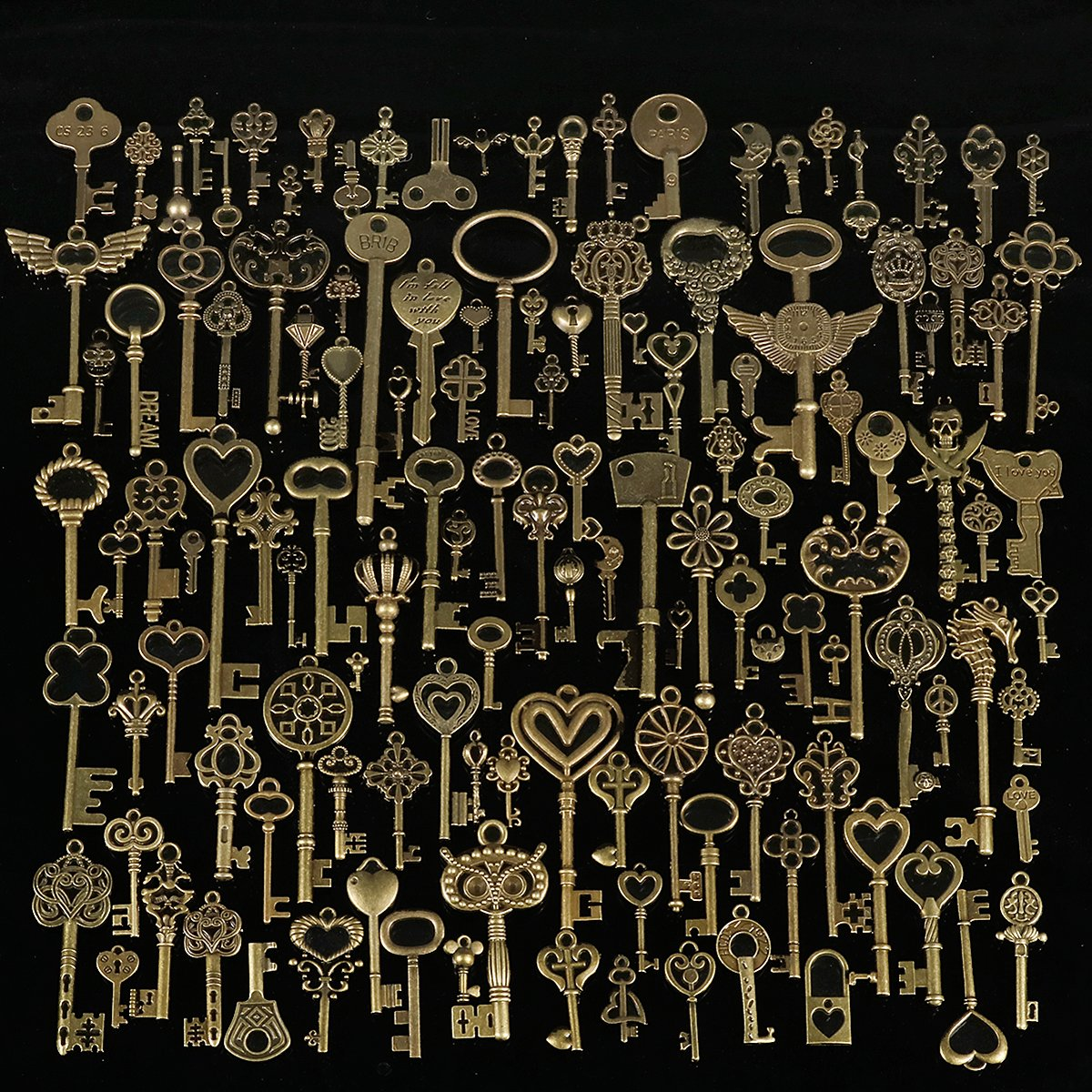 130pcs Antique Bronze Brass Vtg Ornate Skeleton Keys Lot Pendant Fancy Heart Pendants Key Gift by Ologymart