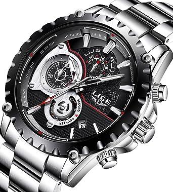 c72e6ed7ae0 Mens Watches Full Steel Waterproof Sport Analog Quartz Watch Men  Chronograph Business Black Wristwatch