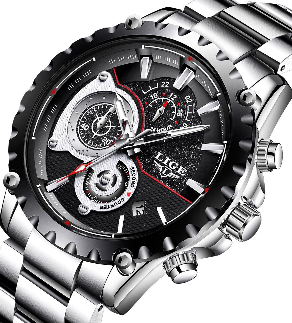 Mens Watches Full Steel Waterproof Sport Analog Quartz Watch Men Chronograph Business Black Wristwatch by LIGE