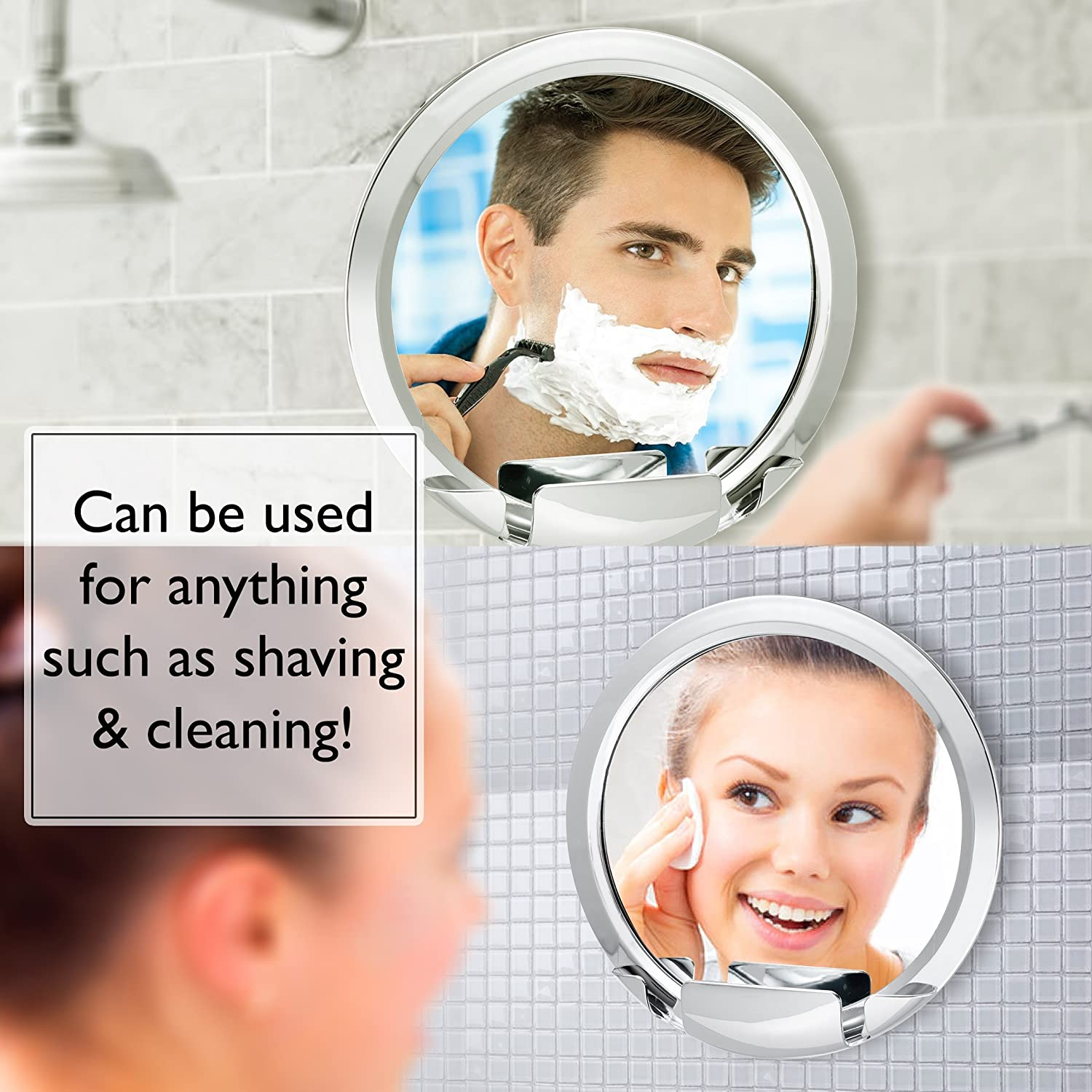 Fogless Shower Mirror with Built-In Razor Holder 360 Rotation Real Fog-Free Shaving Adjustable Arm Shatterproof Rust-Resistant Non-Fogging Bathroom Mirror for Men and Women