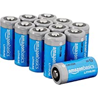 Amazon Basics 12-Pack Lithium CR123a 3 Volt Batteries, 10-Year Shelf Life, Easy to Open Value Pack