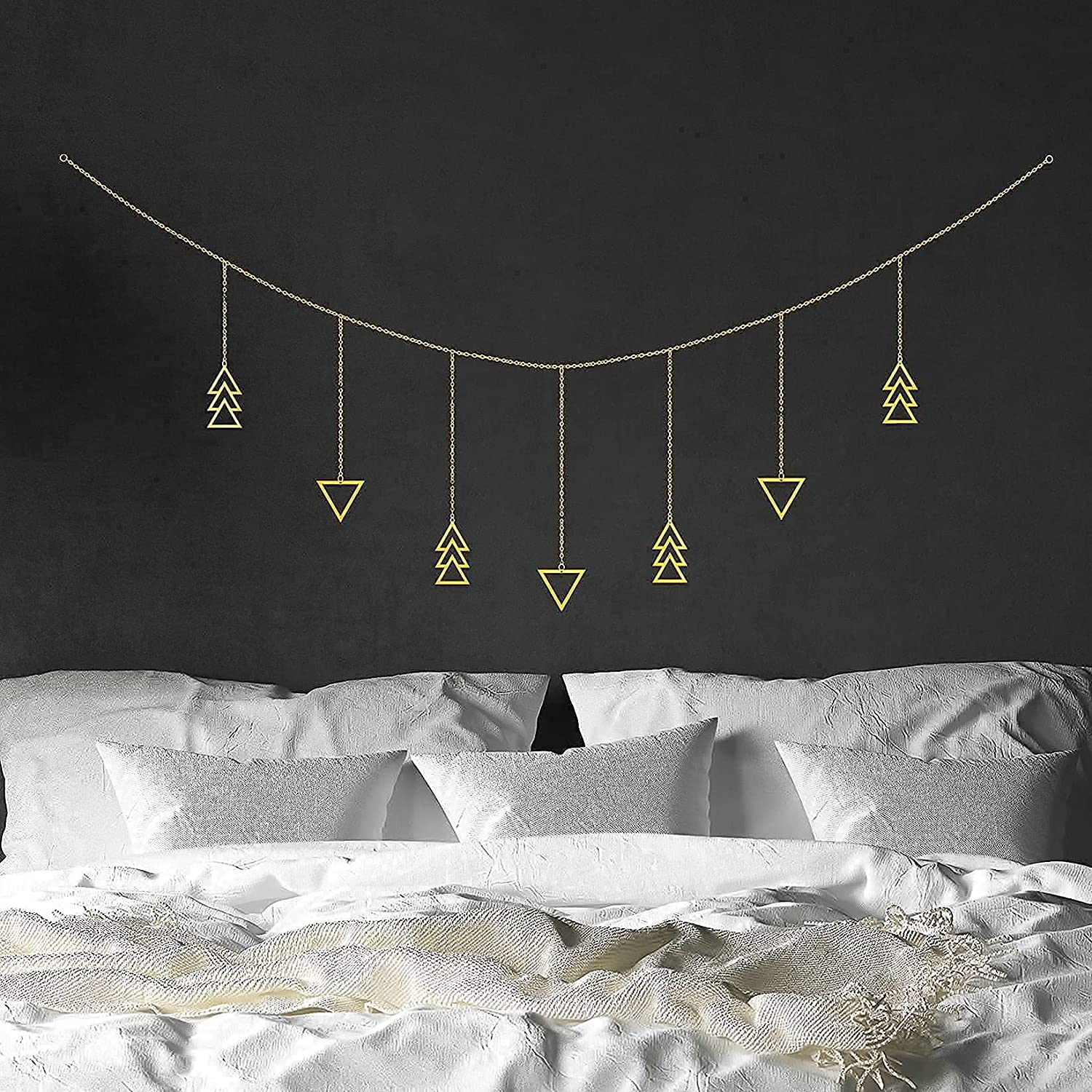 Boho Wall Hanging Decor | Modern Geometric Gold Metal Wall Art Decor | Boho Garland | Cute Bohemian Style Southwest Room Decor Aesthetic Wall Decor For Bedroom | Living Room | Apartment | Girls Room Decorations for Home