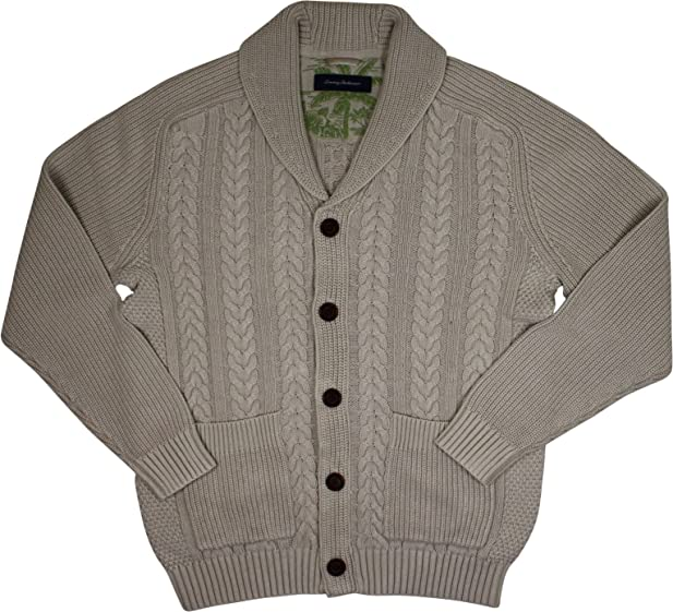 Tommy Bahama T414352 Mens Coastal Cable Cardigan, French Clay - M ...