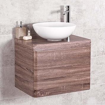 Amazon.de: Badezimmer 600 Waschtisch Unterschrank Eiche wandhängend ...