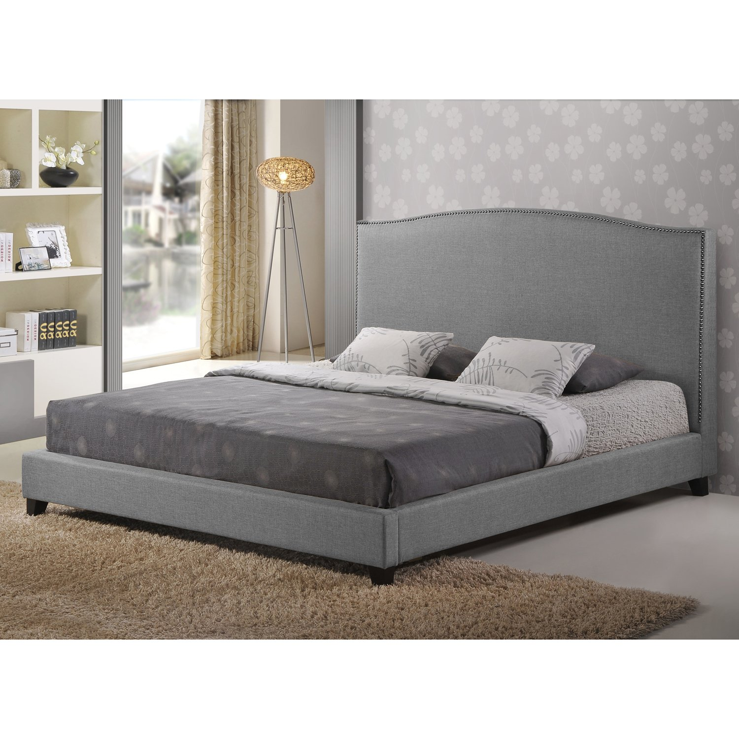 Pictures of platform beds - Amazon Com Baxton Studio Aisling Fabric Platform Bed King Gray Kitchen Dining