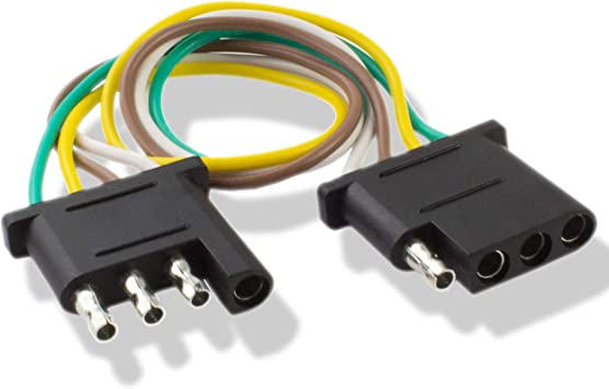 amazon.com: 225fwy 2 feet trailer light wiring harness extension 4 pin plus  18 awg flat wire connector: automotive  amazon.com