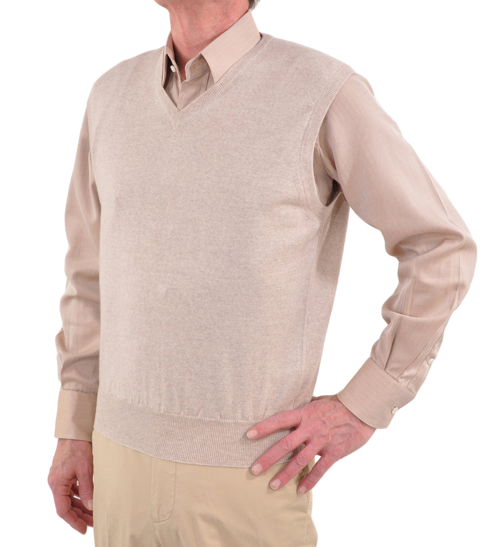 Gran Sasso Extrafine Merino Wool Sleeveless V-Neck Sweater 2XLarge/Natural