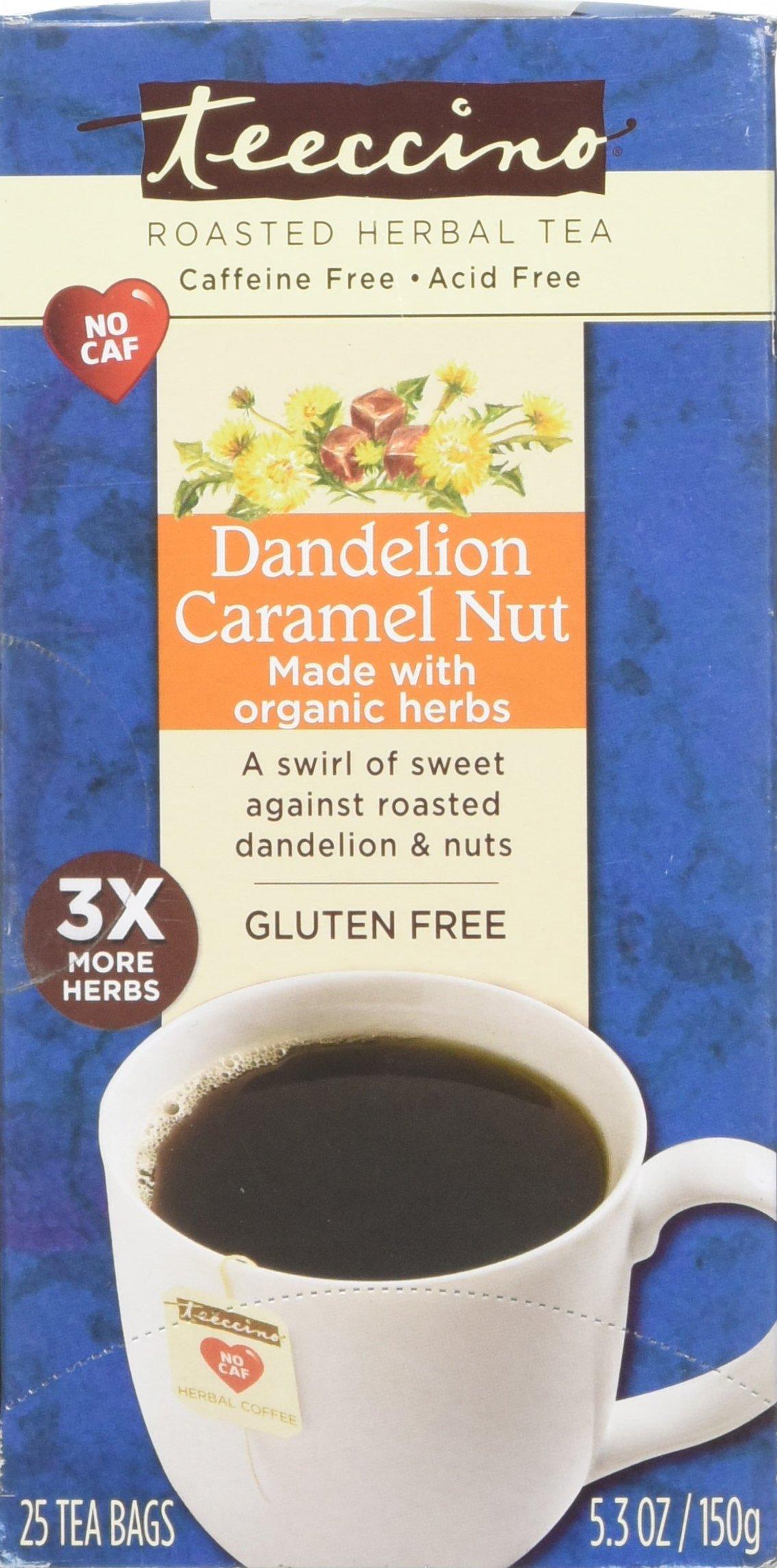 Teeccino Dandelion Caramel Nut Chicory Herbal Tea Bags, Gluten Free, Caffeine Free, Acid Free, 25 Count