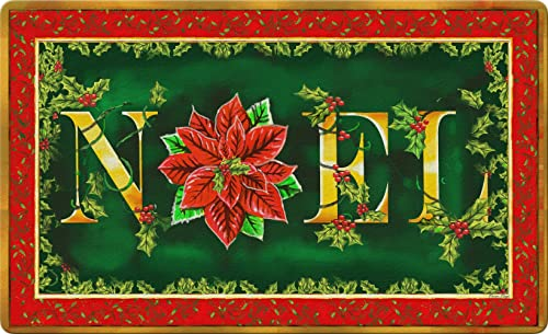 Toland Home Garden Noel 18 x 30 Inch Decorative Floor Mat Colorful Christmas Poinsettia Winter Flower Doormat – 800101