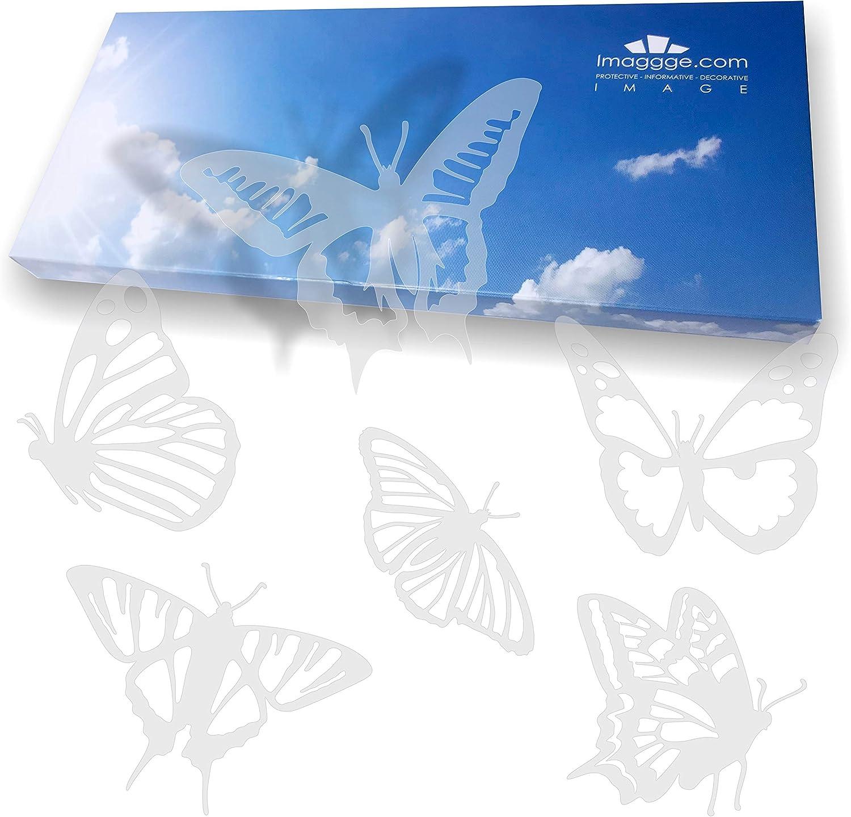 imaggge.com - Pegatinas anticolisión para Puertas de Cristal (18 Mariposas detalladas) - Evita los Golpes de pájaros o choques de Personas en los Cristales