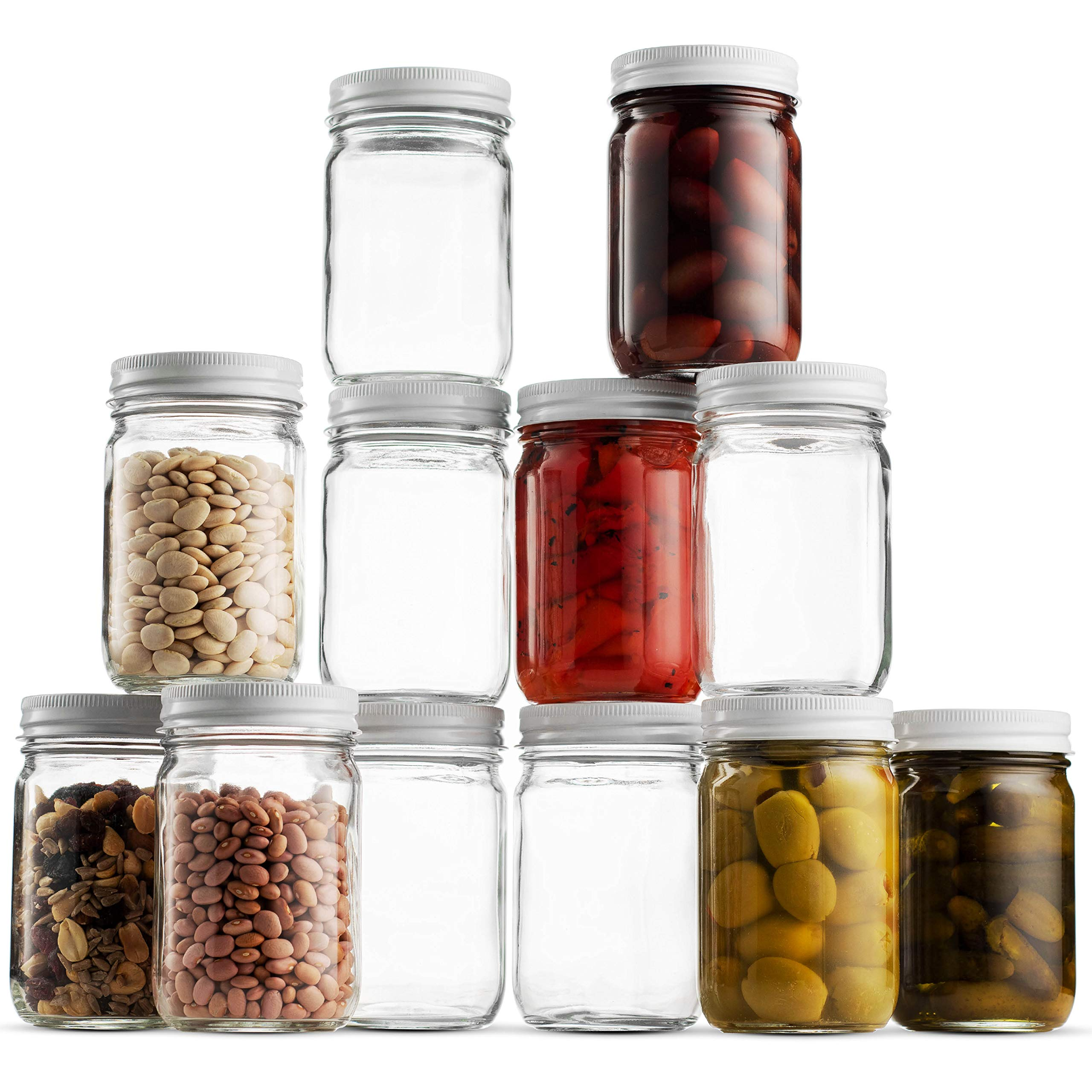 Glass Mason Jars (12 Pack) - 12 Ounce Regular Mouth Jam Jelly Jars, Metal Airtight Lid, USDA Approved Dishwasher Safe USA Made Pickling, Preserving, Decorating, Canning Jar, Craft and Dry Food Storage