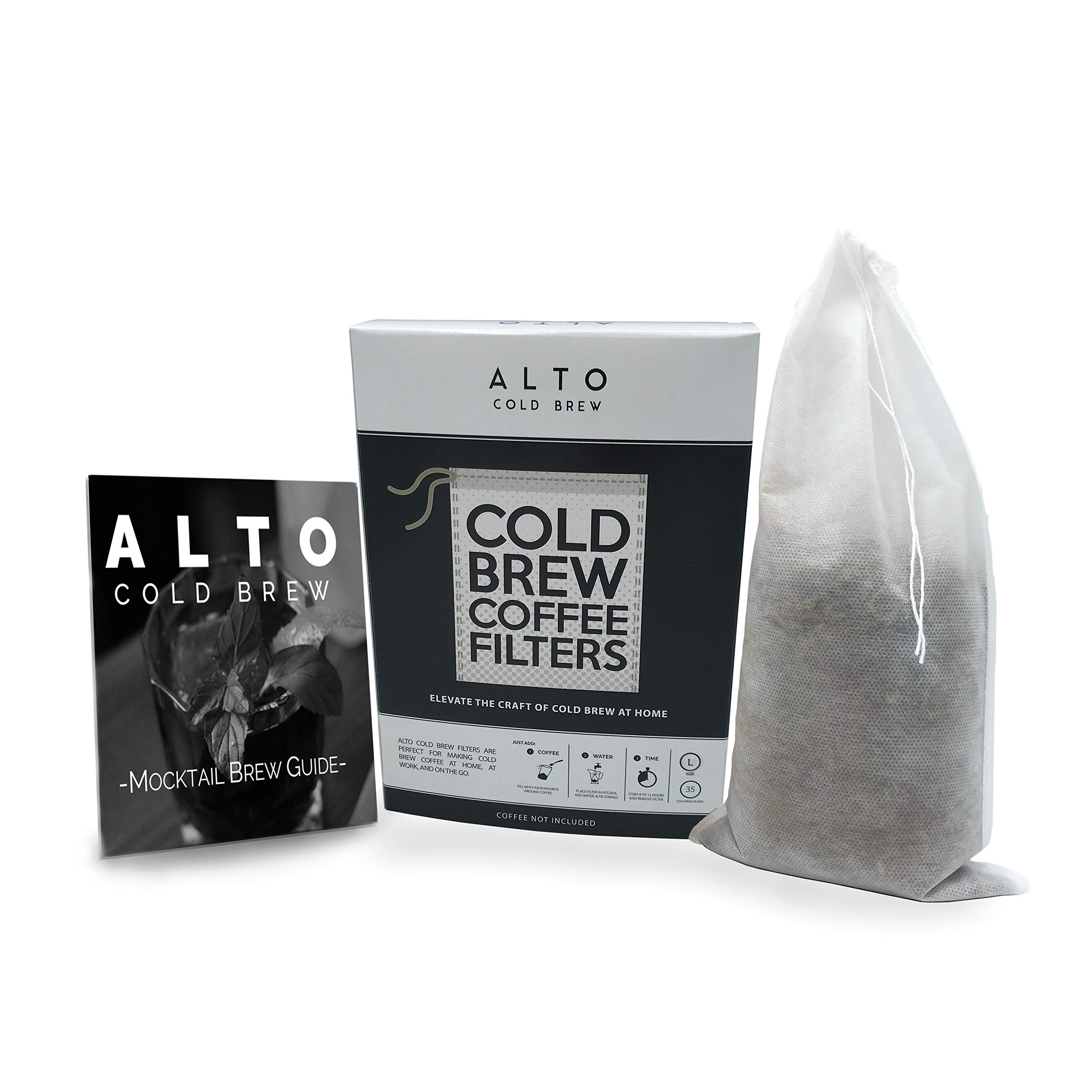 No Mess Disposable Cold Brew Coffee Filters - 35 Pack - Cleaner, Brighter Cold Brew, Without the Cleanup - Works for Tea, Iced Coffee, Cold Press, French Press (Gallon Pitcher Size) by Alto Cold Brew