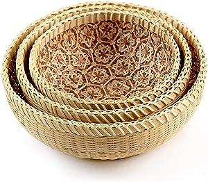 Bamboo Fruit Basket For Kitchen, Bread Baskets For Serving, Bread Baskets For Kitchen Counter, Fruit Bowl Wood, Onion Basket, Multi-purpose Storage Round Vegetable Basket, Brown, Set 3