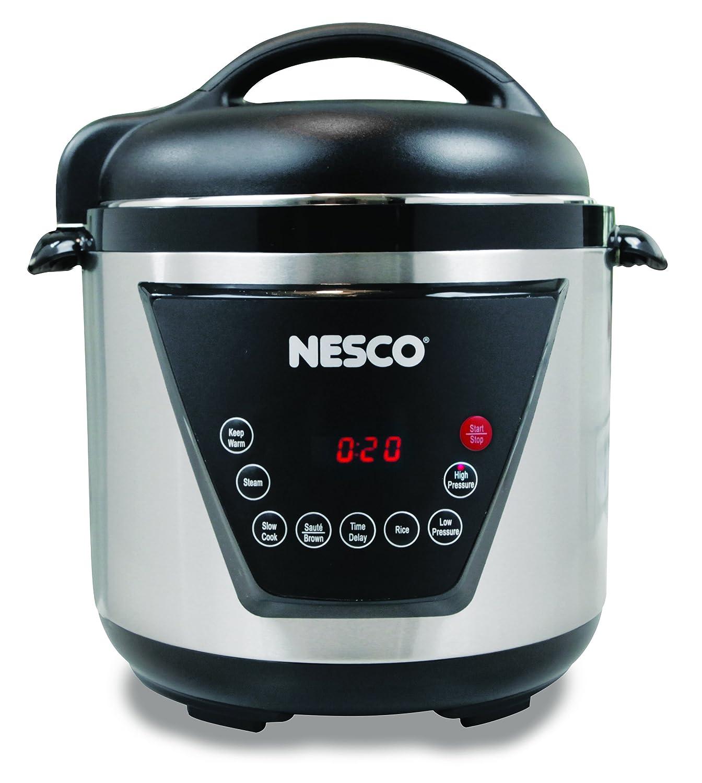 NESCO PC6-13, Pressure Cooker, Silver/Black, 6 quart, 1000 watts